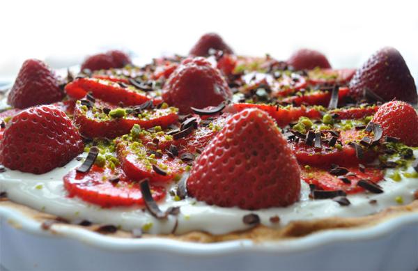 Mazarintærte med Jordbær