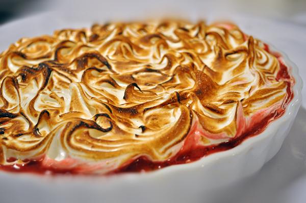 Hindbærtærte med top