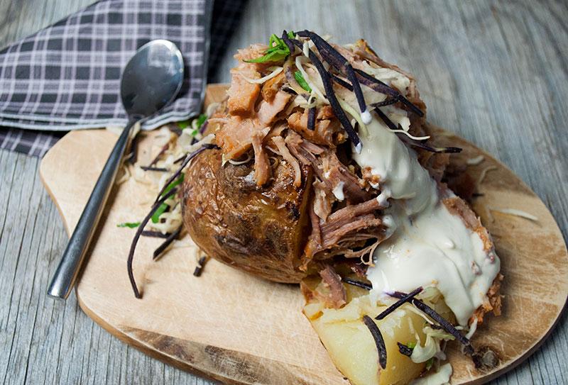 Bagte kartofler med Pulled Pork