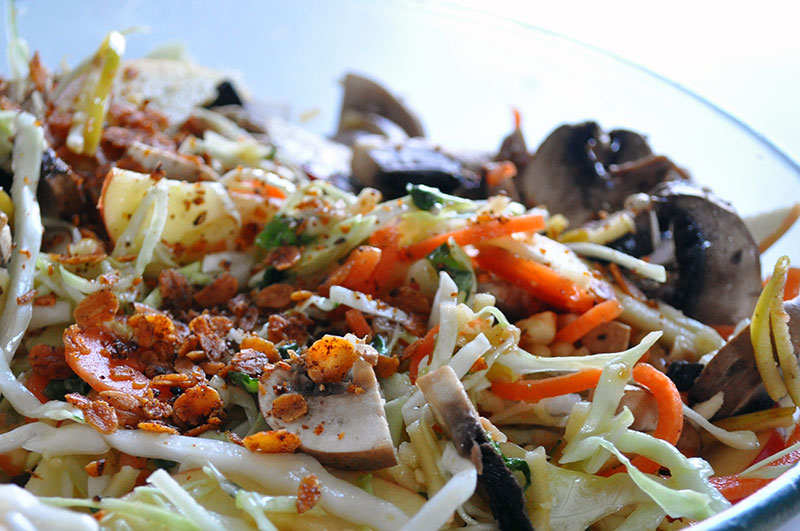 Salat med ristede havregryn