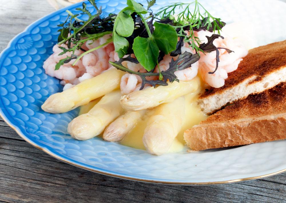 Hvide Asparges med Mousseline og Rejer