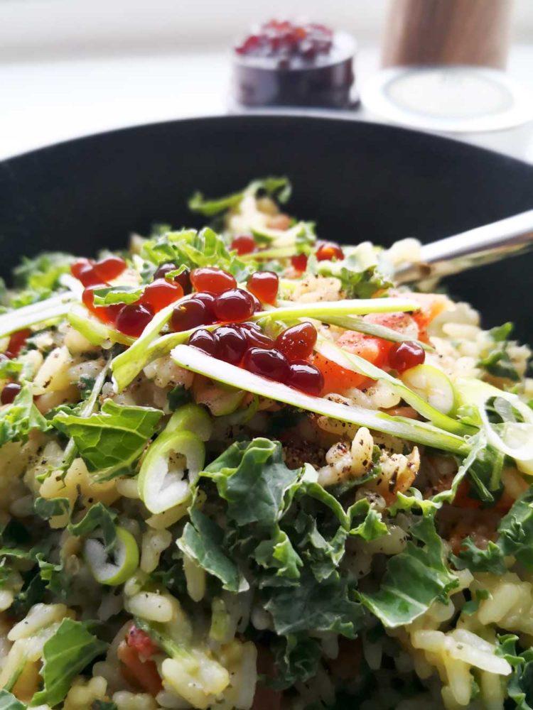 Risotto med grønkål og sojaperler