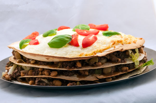 Tortilla-Lagkage med Fyld