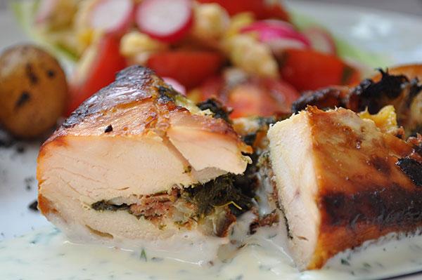 Kyllingebryst med spinat og ost
